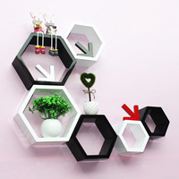 3Pcs/Set Hexagon Shelf Wall Floating Shelves Wall Hanging Geometric Figure Home Bedroom Decoration Bookshelf Storage Book Kit
