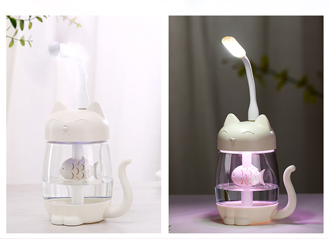 Cute Cat Air Humidifier Ultrasonic 3 In 1 Fan Aroma Essential Oil Diffuser Purifier Atomizer USB Charging LED light For Home 4