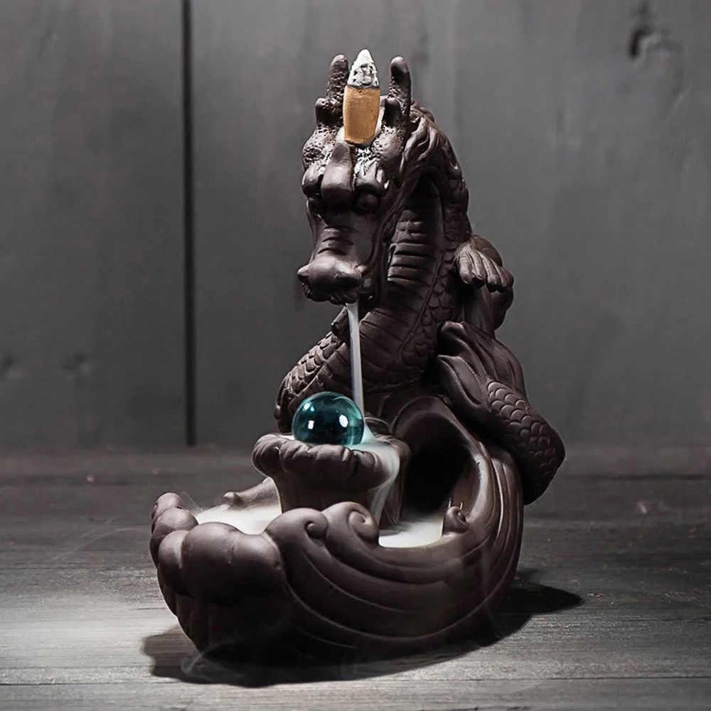 1 * задний поток ладан горелка + 50 * Конус ладан s Дракон керамический дым водопад курильница для благовоний горелка курильница домашний декор 20*19*10 см
