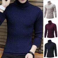 Men Fashion Pullover Sweaters Casual Solid Turtleneck Long Sleeve Slim Fit Sweater Winter/Spring/Autumn/Summer