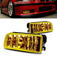 Pair For 92 98 BMW E36 M3 Chrome H1 Fog Lights Replacement Lamps Yellow Lens