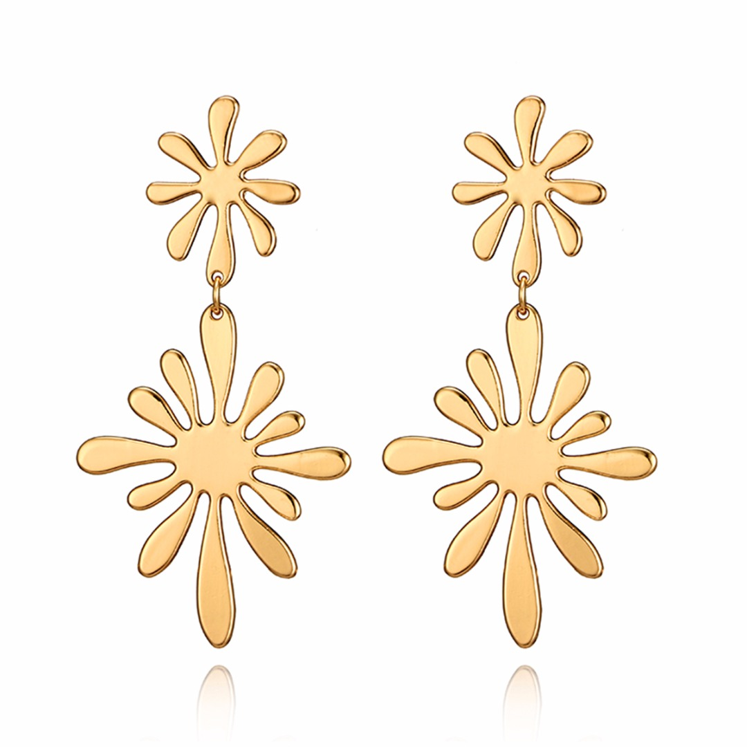 Charms Geometry <font><b>Gold</b></font> Color Double Flower <font><b>Drop</b></font> <font><b>Earring</b></font> Fashion <font><b>Elegant</b></font> Irregular Womens' Dangle <font><b>Earrings</b></font> Unique Party <font><b>Jewelry</b></font> image