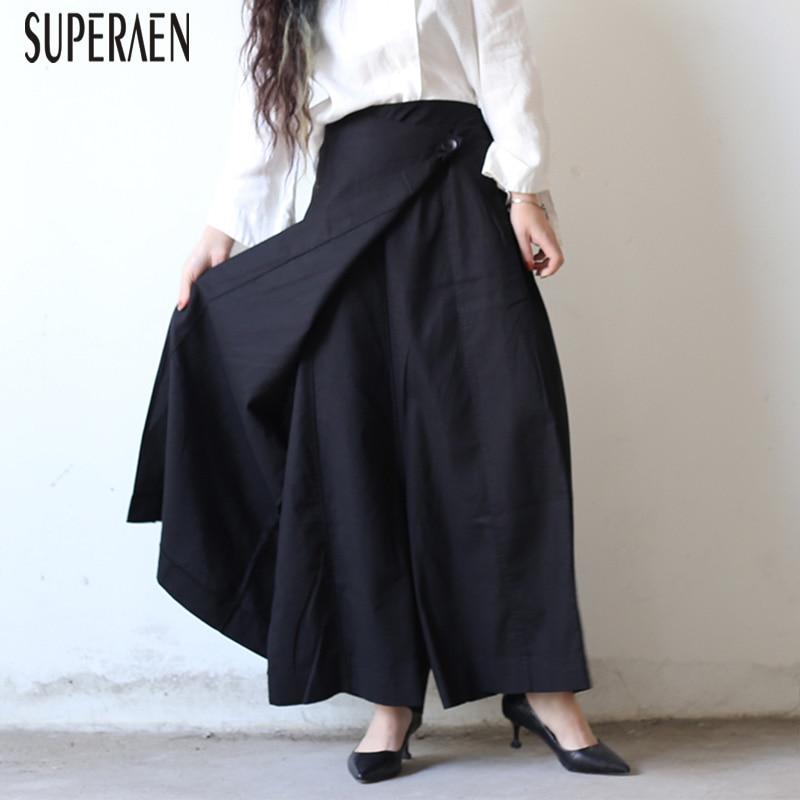SuperAen 2019 Spring New Women Long Pants Solid Color Wild Casual Fashion Ladies Pants Cotton Wide Leg Pants