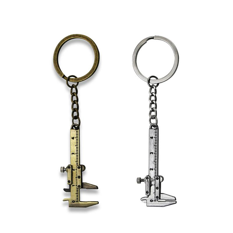 Mini Vernier Caliper key Chain Portable Tool Zinc Alloy Keychain Pendant For Chain Tools