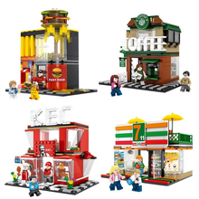 цены Mini City Street View Coffee Shop Hamburger Store Building Blocks Compatible Legoings City Diy Bricks Toys For Children Gifts