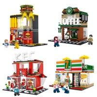 Mini City Street View Coffee Shop Hamburger Store Building Blocks Compatible Legoings City Diy Bricks Toys For Children Gifts