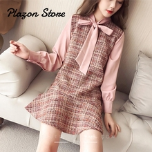 Vestido Vintage Plaid Dress Pink Bow Collar Lantern Long Sleeves Chiffon Female Fashion Stitching Clothes