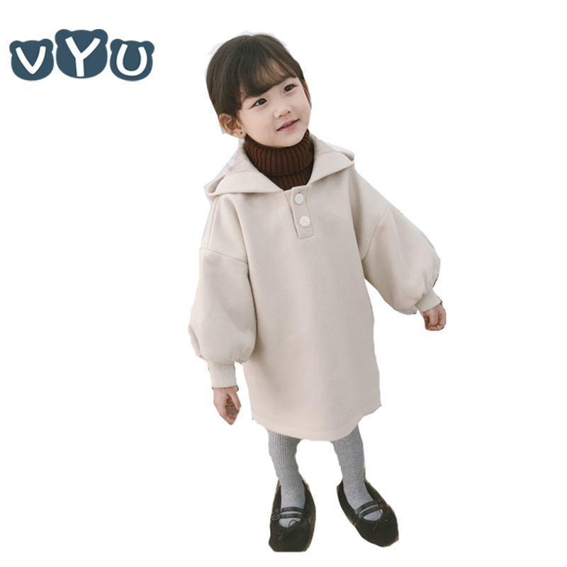 2018Autumn Winter Kids Girls Long Sleeved Hooded Dress Solid Color Thicken Dress With Button Children Clothes 1 2 3 4 6 8 Yrs2018Autumn Winter Kids Girls Long Sleeved Hooded Dress Solid Color Thicken Dress With Button Children Clothes 1 2 3 4 6 8 Yrs