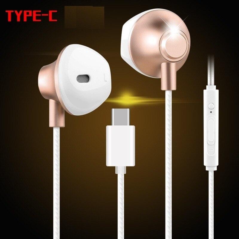 Metal Earphone USB Type-C In Ear Earbud Earphones Original Headset With Microphone For HUAWEI Mate 10 20 P20 Pro Note10 Xiaomi