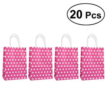 20pcs 15x8x21cm Polka Dot Kraft Paper Bags Packaging Grocery Shopping Bag Gift Wrap Storage with Handles(China)