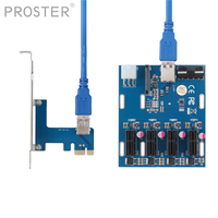 Proster 3 in 1 PCI Express PCI E 1X slots Riser Card PCI E 1 to 4 Expansion Adapter Layer PCB Board + USB 3.0 Cable for Mining