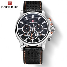 FAERDUO Chronograph Watches Watches Man Clock Top Brand Luxury Mens Watch Military Male Clock Date Sports Leather Quartz Gifts все цены
