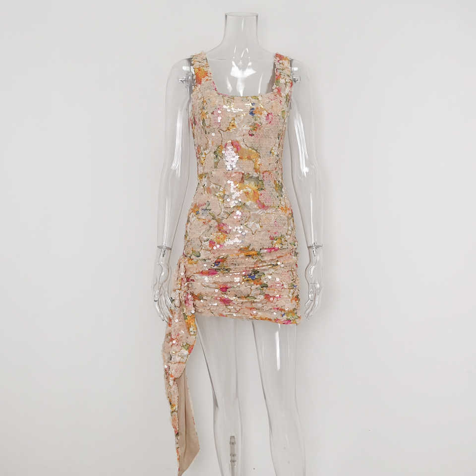 Karlofea Новое Элегантное платье с цветочным рисунком из пайеток офисное дамское вечернее роскошное мини-платье шикарное боковое платье с запахом Клубное платье