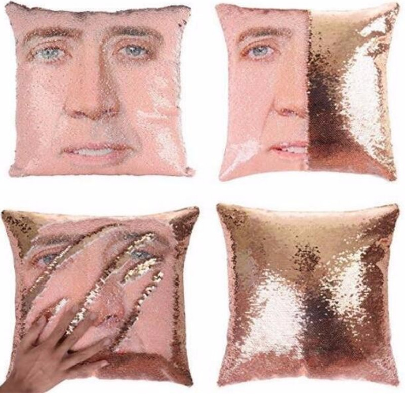 Magical Nicolas Cage Cushion Cover with Sequins Super Shining Reversible Color Changing Pillow Cover 40x40cm Home Car Decoraion