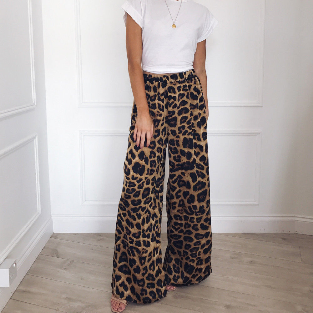2019 Fashion Autumn Leopard Printed Wide Leg Pants Women High Waist Loose Palazzo Snakeshin Pants Elegant Office Ladies Trousers