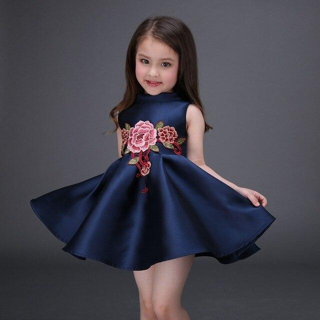 2a2d5d0aeea Платье для девочки с цветочной вышивкой темно-синее платье принцессы из  хлопка детское повседневное бальное