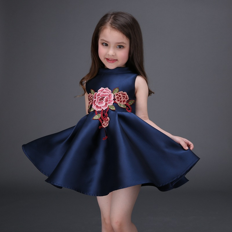 Dress Girl Fashion: Embroidered Flower Girls Dress Cotton Princess Navy Blue