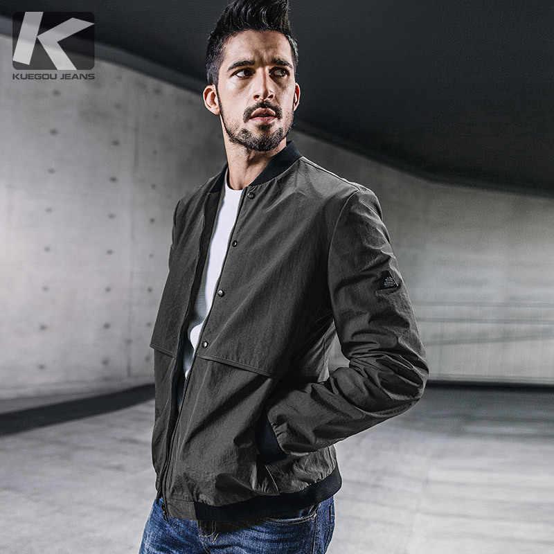 4a359ee3280 KUEGOU Новый Осень мужские куртки и пальто лоскутное Армейский зеленый Цвет  брендовая одежда мужская одежда по