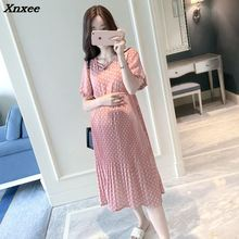 Pregnant dress women chiffon pleated dresses dots short sleeve loose casual pregnancy dress mother clothing plus size Xnxee plus size maternity dresses for pregnant women midi pleated chiffon dress pink polka dots summer pregnancy clothes high waist