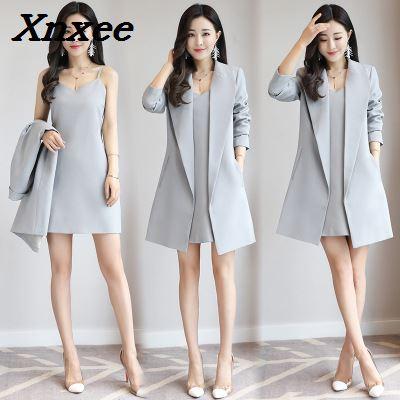 Women Set Suits Dress + Long Office Blazers Coat Slim Dress Suits Two Pieces Set Casual Office Ladies Work Wear Business Suit