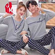 Autumn Sleepwear Men Long Sleeve Cotton Cartoon Pajamas Male Full Set Pajama Man Solid Sleep M-XXXL