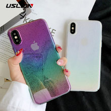 USLION 3D Water Druppels Laser Regenboog Case Voor iPhone 7 6 6 s 8 Plus XR XS Max Ultra Dunne hard PC Phone Cover Cases Fundas Capa(China)