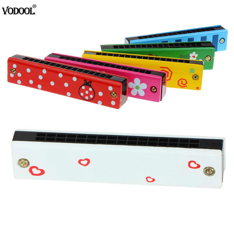 1pc Colorful Harmonica 16 Holes Wooden Tremolo Harmonica Kids Musical Instrument Educational Toy Cute Birthday Gift