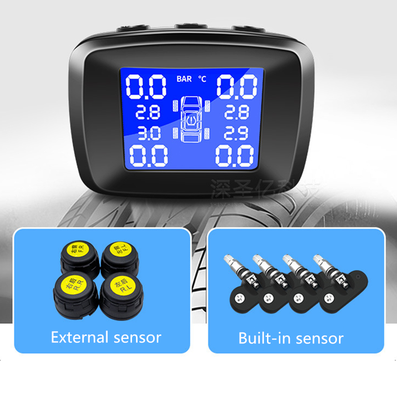 Car TPMS External Or Internal Tire Pressure Monitoring System Cigarette Lighter Digital Liquid Display Tire Pressure in Tire Pressure Alarm from Automobiles Motorcycles