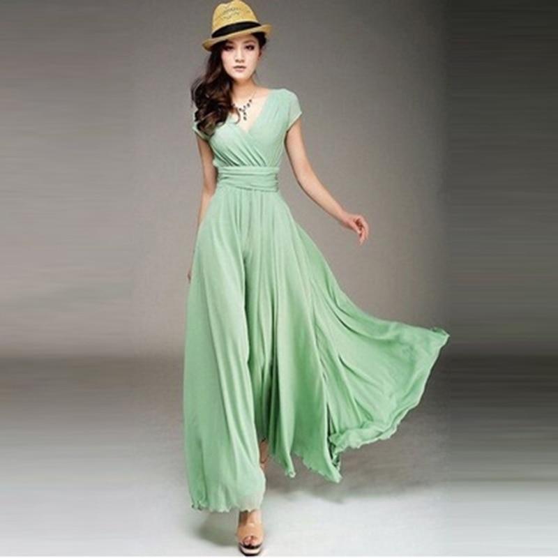 Hengsong 2018 New Women Maxi Dress Women Solid Color Boho Long Dress Party Bridesmaids Infinity Robe Longue Femme 802482 4