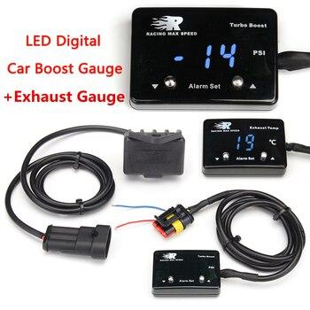 자동차 디지털 디스플레이 부스트 + 배기 게이지 dc12v 범용 부스트 게이지 egt 배기 온도 게이지 배기 온도계 터보 차저