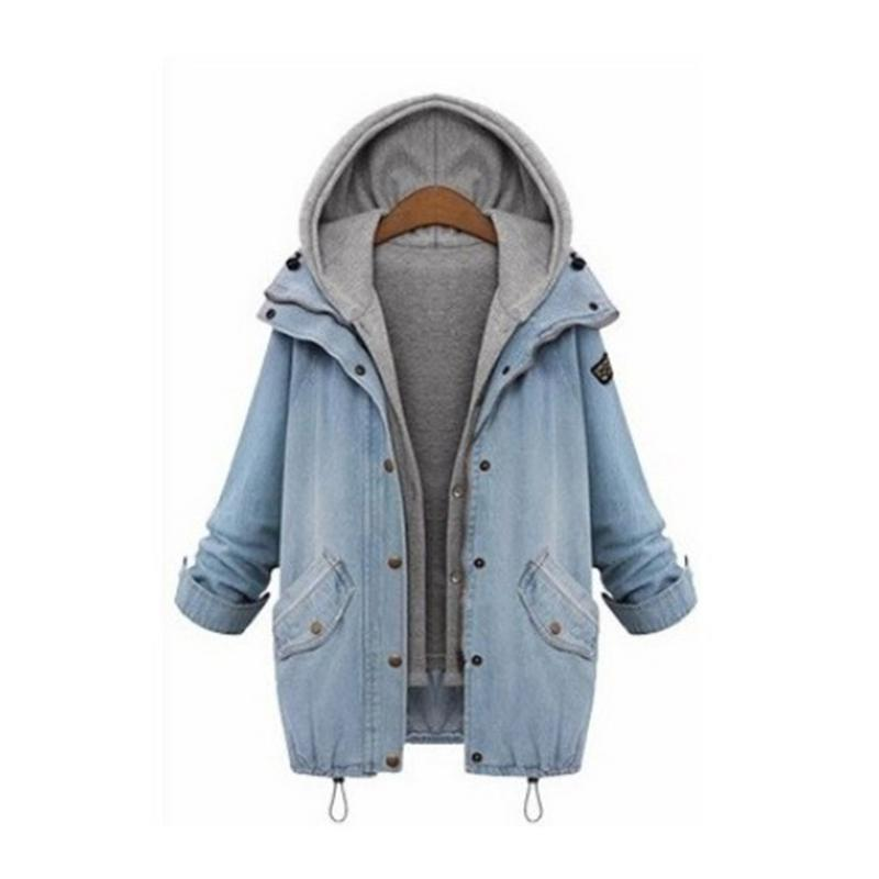 Europe America Two piece Set Women Denim Jacket Hooded Solid Color Large Size Loose Casual Coat Versatile Comfortable Tops in Jackets from Women 39 s Clothing