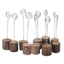 Rustic Real Wood Base Wedding Table Name Number Holder Party Decoration Card Holders Picture Memo Note Photo Clip (10 p