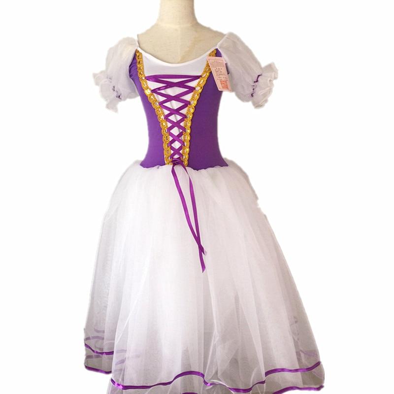 Image 2 - New Romantic Tutu Giselle Ballet Costumes Girls Child Velet Long Tulle Dress Skate Ballerina Dress Puff Sleeve Chorus DressBallet   -