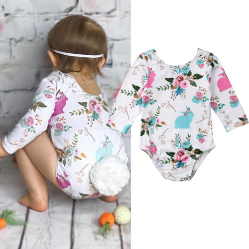 Cool Design Baby Girls Bunny Tail Bodysuit Floral Print Newborn Easter Jumpsuit Clothes Long Sleeve Princess Playsuit Bodysuit