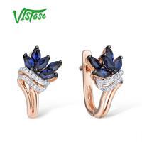Висосо золотые серьги для женщин 14 K 585 розовое золото сверкающий синий сапфир роскошный алмаз обручальное кольцо юбилей ювелирные украшени