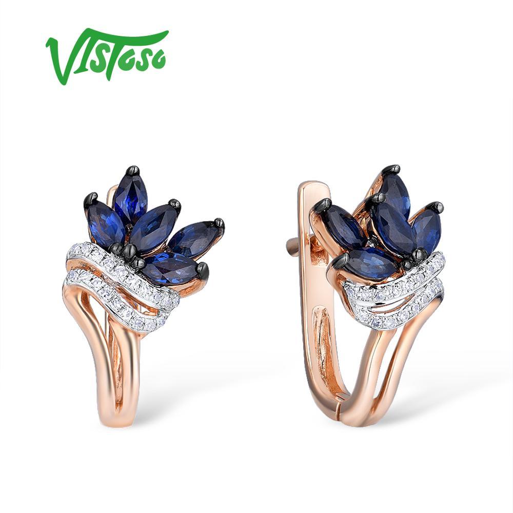 VISTOSO boucles d'oreilles en or pour femmes 14K 585 or Rose scintillant bleu saphir luxe diamant mariage bande anniversaire bijoux fins