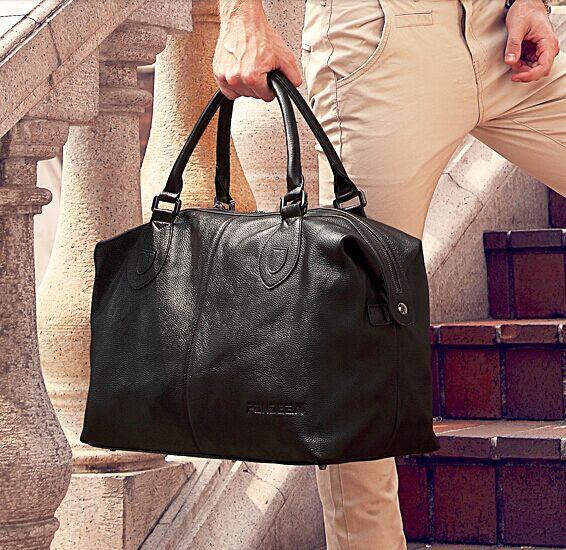 Fashion Genuine Leather men travel bag Carry on Luggage bag men Leather Duffel bag Overnight Weekend bag big Tote Handbag Black