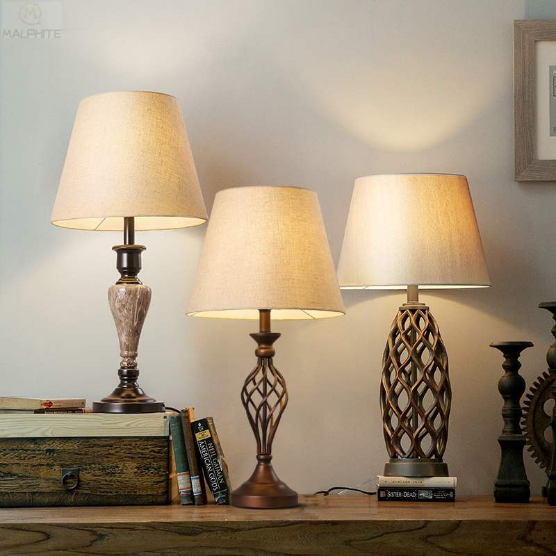 American Wood Table Lamp Pastoral Style Living Room Desk Lamp Bedroom Bedside Lamp Luminaires Table Light Interior Decor Fixtues