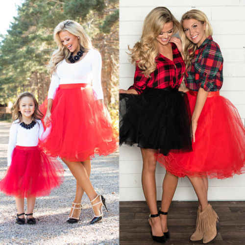 b9bc8636a 2019 Mommy and Me Family Matching Mother Daughter 6 Layers Tulle Skirt Clothes  Mom And Daughter
