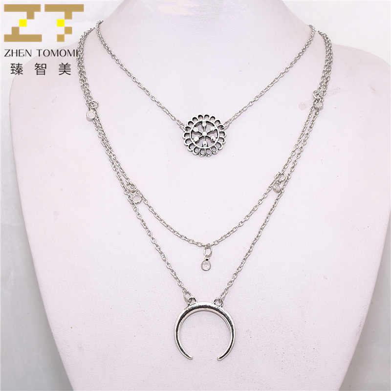 2019 New Arrivals Hot Fashion Multilayer Long Necklace Bohemian Style Moon Hollow Flowers Chokers Necklaces For Women Jewelry