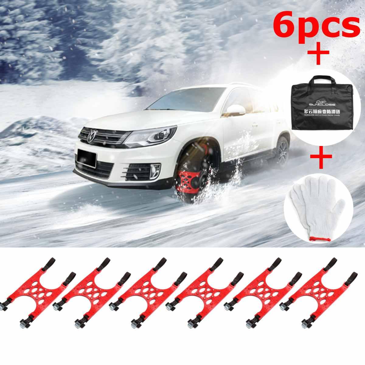 Universel 6 pièces anti-dérapant pneu neige chaînes hiver neige boue chaussée roue Fit pour voiture SUV Auto voiture accessoires pneu chaînes gants