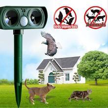 Ultrasonic Animal Chaser Repeller Repellent Cat Dog Fox Deterrent Solar Powered Scarer Repellent for Outdoor Use Garden