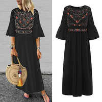 ZANZEA Summer Beach Party Long Dress 2019 Women Casual Flare Sleeve Loose Sundress Fashion Ruffled Chic Vestidos Robe Femme