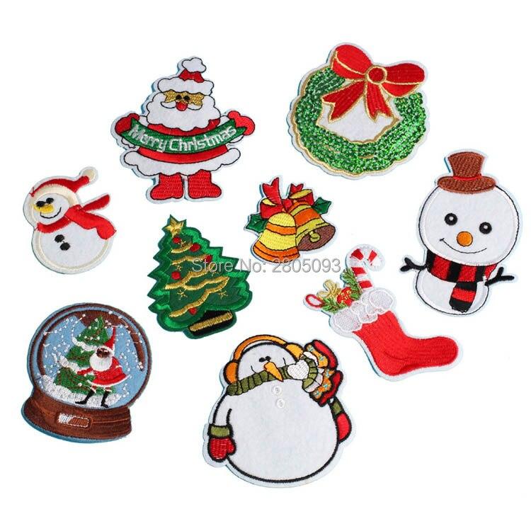 Christmas Tree Patch: Christmas Tree, Santa Claus, Snow Man Badge Embroidered