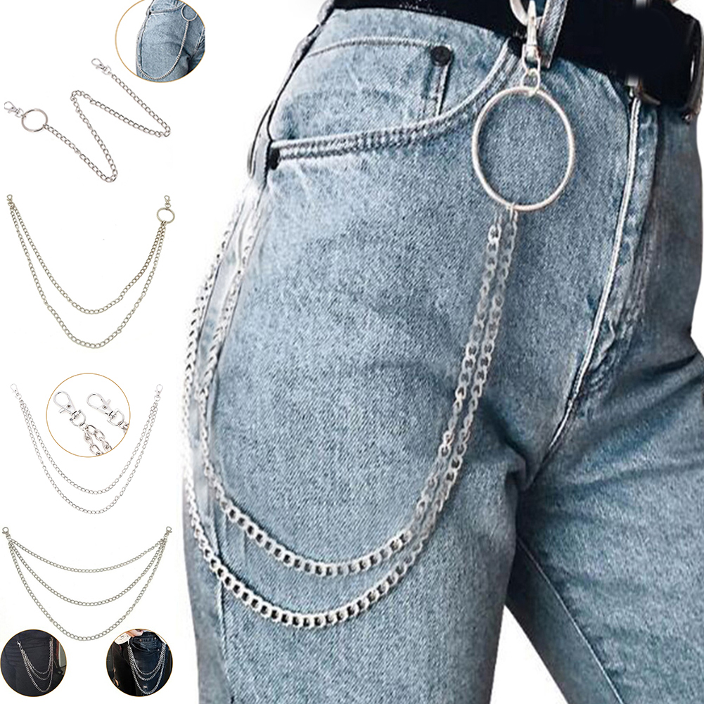 1-3 Layer Rock Punk Hook Trouser Pant Waist Link   Belt   2019 New Fashion Girls High Quality Cool Chic Metal Wallet Silver Chains