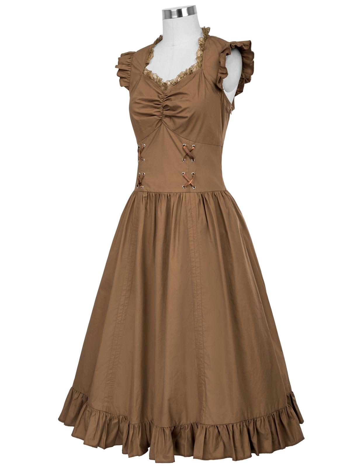 13583f88fb9 Women Sleeveless A-line Dress V-Neck Retro Vintage Black Gothic Victorian  Dress 1