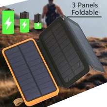 20000mAh Solar Panel Solar Charger 5W 5V/2A Foldable Solar Panel Charger Dual USB Mobile Portable Power Bank Fast Charging Panel