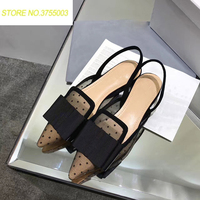2018 Women Loafers Chaussures Femme Dot Mesh Women Casual Shoes Big Bow Pointy Toe Ballet Flats Woman Shoes Slingback Sandals