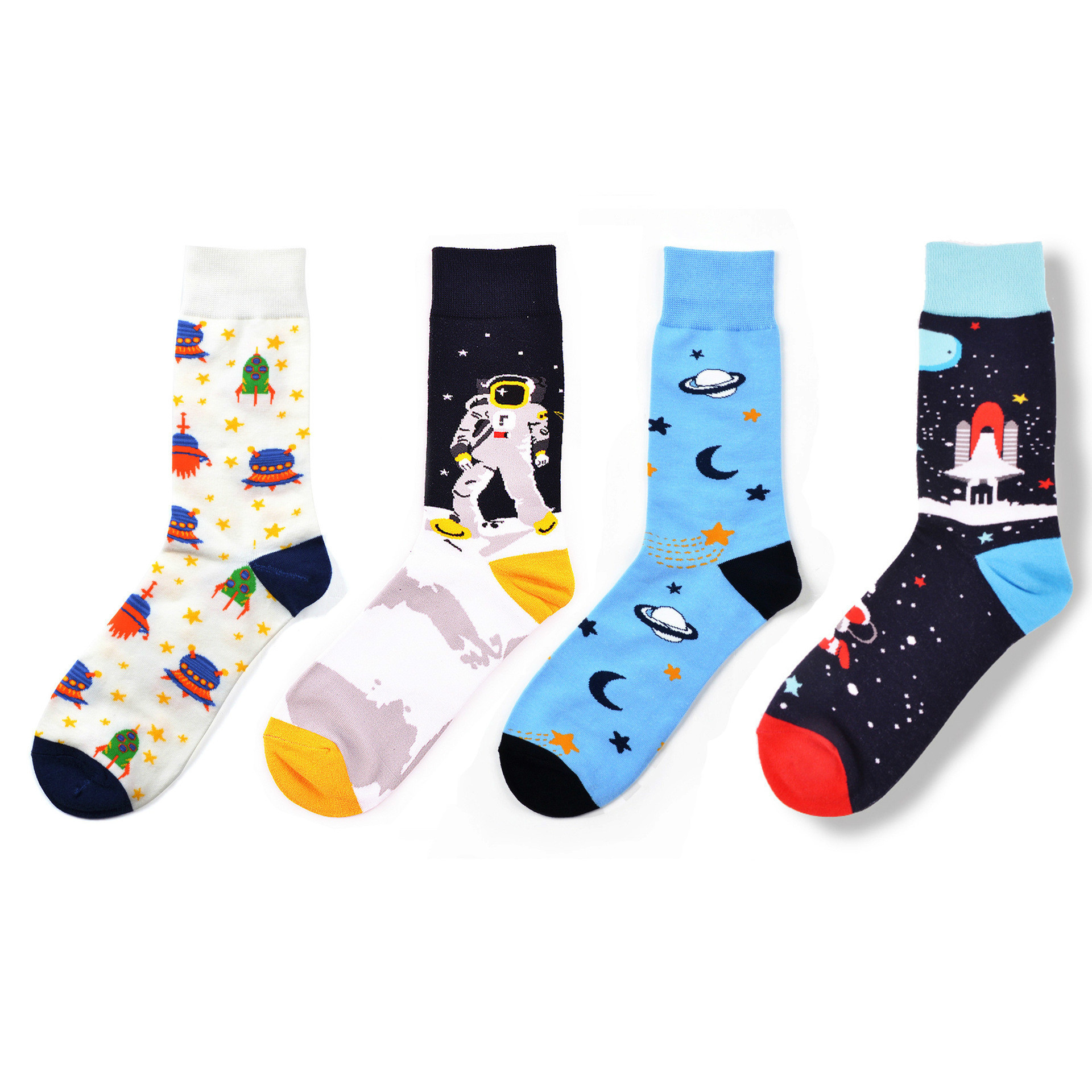 Astronaut Rocket Cosmic Lattice Combed Cotton Crew Sock Casual Men Happy Funny Novelty Male Dress Wedding Harajuku Hip Hop
