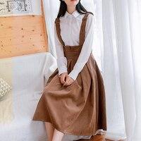 Japan Mori Girl Sundress College Style Women Sleeveless Shoulder Straps Corduroy Dresses Female Burgundy,Navy Blue,Brown